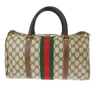GUCCI GG Pattern Sherry Hand Bag PVC Leather Brown